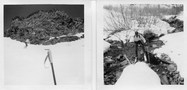 David, skiing down the American Fork side (left), creek crossing near the bottom (right)