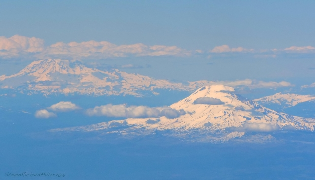 From the south, left to right: Mt. Rainier and Mt. Adams