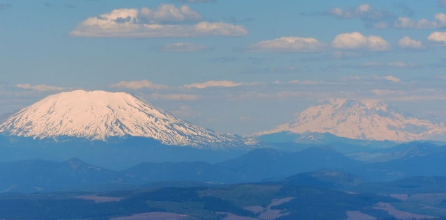 Left, Mt. St. Helens. Right, Mt. Rainier (14,416'). I climbed Mt. Rainier in 1961.