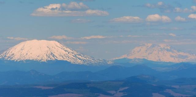 Left, Mt. St. Helens. Right, Mt. Rainier (14,416'). I climbed Mt. Rainier in 1961.