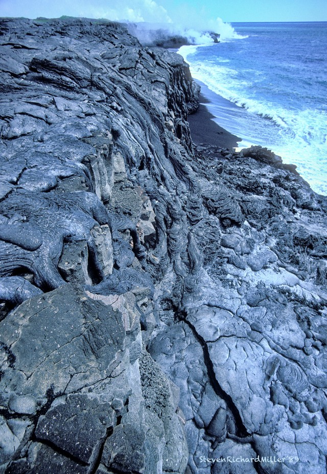 This lava flowed over the cliff the day before, and was warm to the touch