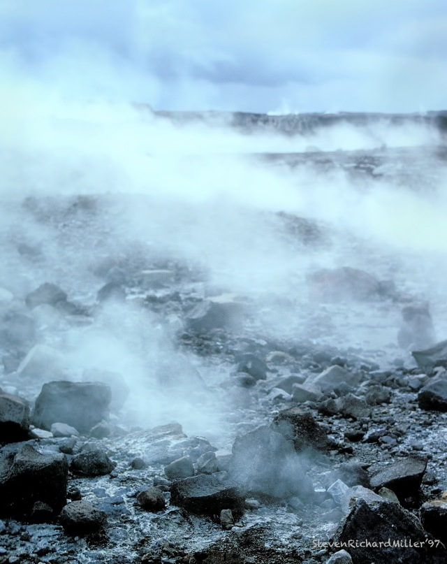 The Halemaumau Crater, with lots of steam
