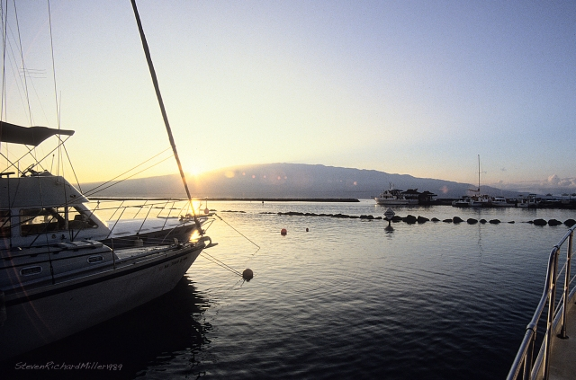 The harbor, at sunrise, with the Big Island to the east