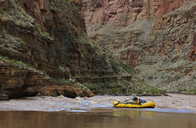 Kathy, at Kanab Rapid, Mile 144