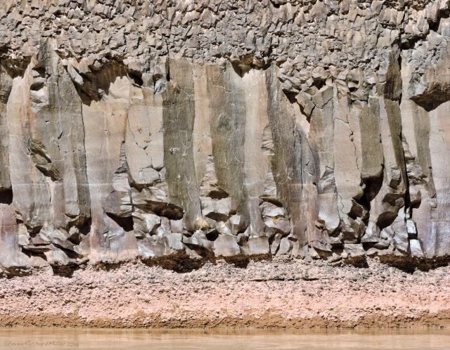 Lava flow sits on river cobble