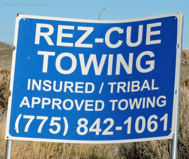 "If you get stuck while on the ""rez"" (the lake is on the Pyramid Lake Paiute reservation), call Rez-cue."