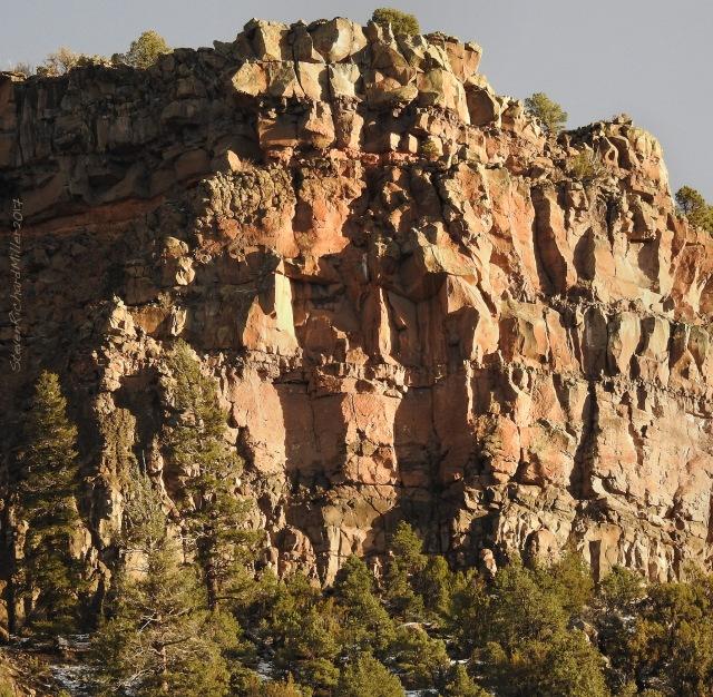 Sunlit gorge rim, Orilla Verde, 1-26-17